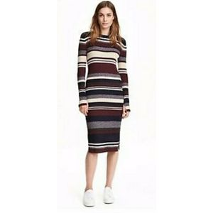 L NWT H&M L.O.G.G. Striped Midi Sweater Dress
